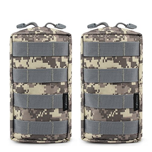 FUNANASUN 2 Pack Molle Pouches Tactical Compact Water resistant EDC Pouch (ACU)