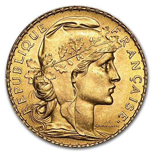 - 1899 FR - 1914 France Gold 20 Francs French Rooster AU (Random) Gold About Uncirculated