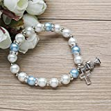 First Holy Communion Party Favor (12 PCS) Stretch Blue Pearl Bracelet with Silver Metal Chalice and Cross Charms/ Recuerdos para Primera Comunion Niño/ Gift for Guests