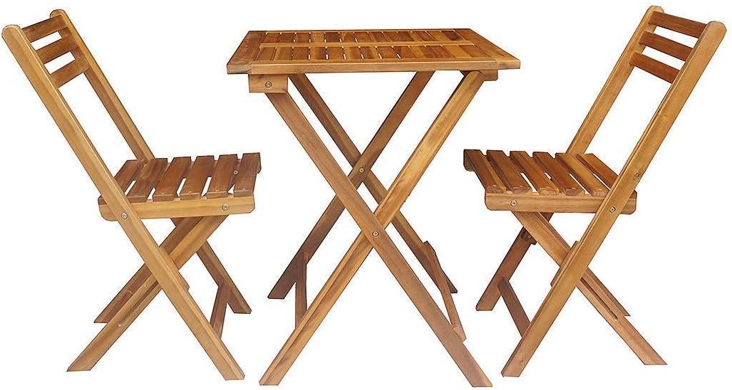 Buschman Conjunto de Dos Sillas y Mesa Cuadrada, Patio Eco Bistro Conjunto de Madera de Acacia de Balcón Juego de 1 Mesa y 2 Sillas Plegables Terraza Jardín