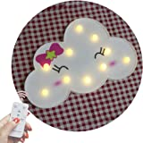 Obrecis Light Up Cloud Marquee Sign, Remote Control Cloud Marquee Light White Printed Cloud Lamp for Bedroom, Nursery Room, Child Kids Girls Decor (White Bow Tie Cloud)