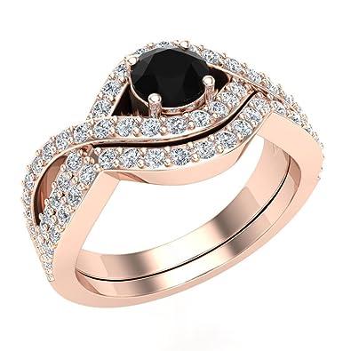 Amazon Com Black White Criss Cross Diamond Wedding Ring Set W