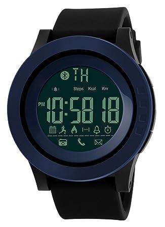 Smart Watch Pedometer Calories Bluetooth Clocks Waterproof Digital Outdoor Chronograph Sports Watches (Blue)