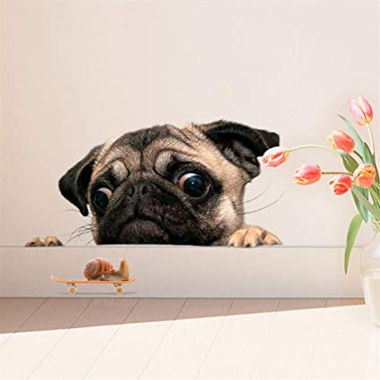 Lnlyin 3d Pug Dog With Snail Stickers Cartoon Funny Pet Animal Wallpaper Decoration Easy To Stick Safe Art Cute Kitten Home Decal For Bedroom