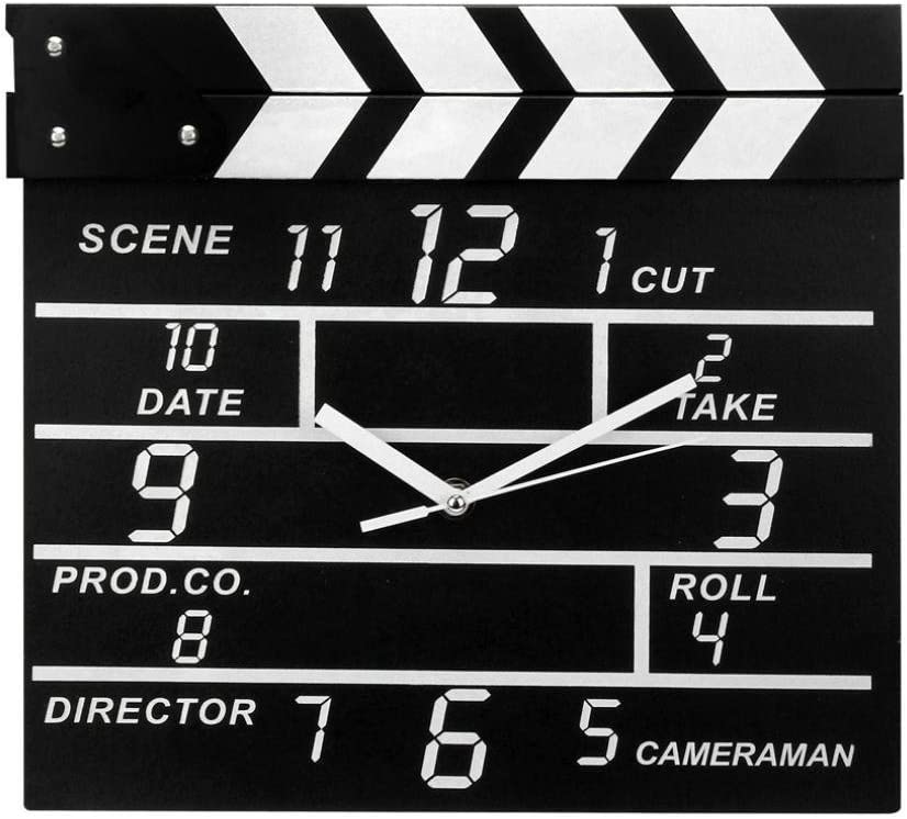 Zaoniy Large Retro Cinema Movie Slate Analog Wall Clock Clapper Film Modern Home