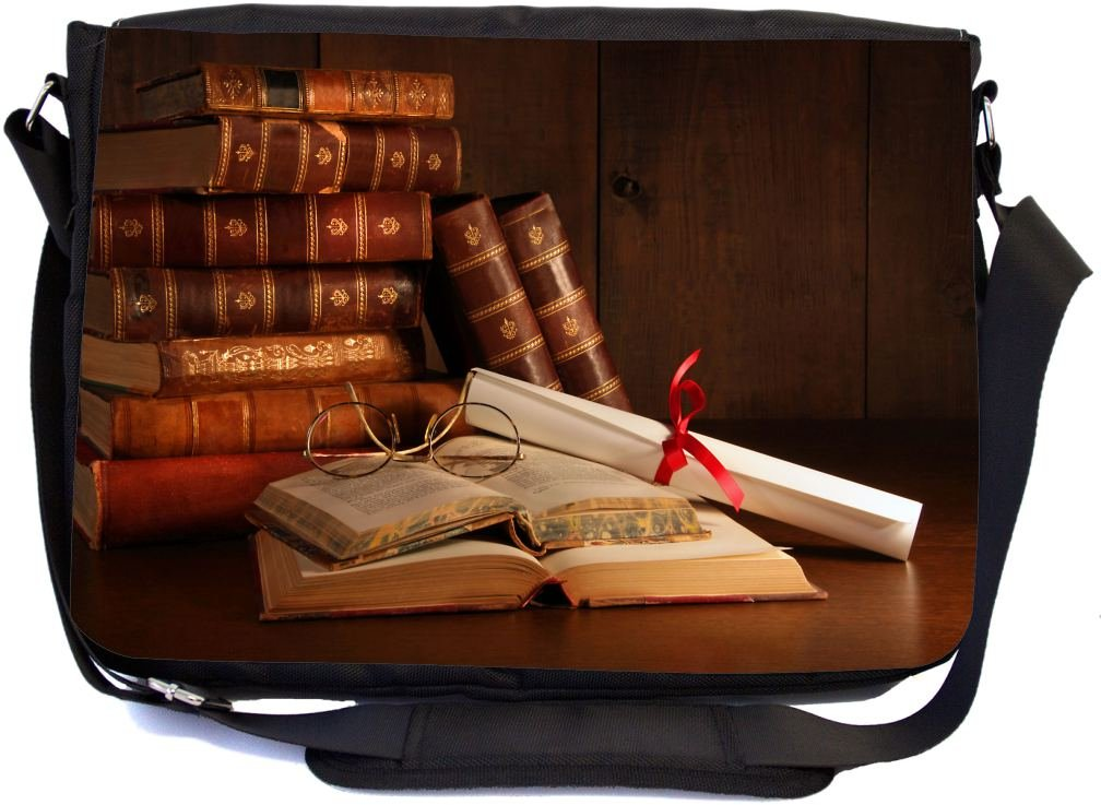 Rikki Knight Pile Of Old Books With Glasses On Desk Design Premium Messenger Bag - School Bag - Laptop Bag - with padded insert for School or Work - With Matching Pencil Case