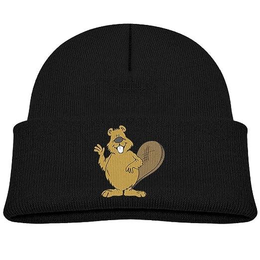 Hinanqugu Baby Beaver Unisex Winter Warm Knit Hat Cute Soft Stretch Lined Beanie  Cap Black 7b036c4c6589