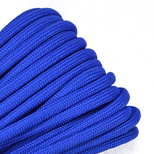Bored Paracord - 1', 10', 25', 50', 100' Hanks & 250', 1000' Spools of Parachute 550 Cord Type III 7 Strand Paracord Well Over 300 Colors - Royal Blue - 100 Feet -