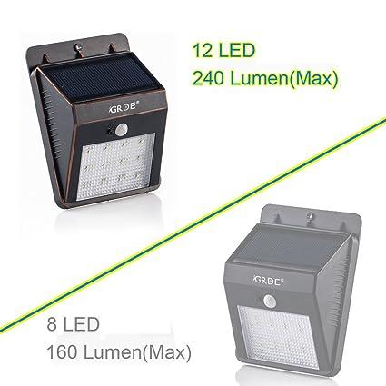 GRDE - Lámpara solar con detector de movimiento para exteriores, 12 LED, impermeable,