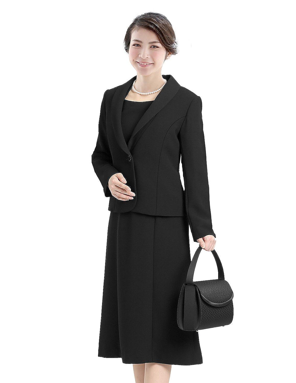 (ニナーズ)nina's ブラックフォーマル 喪服 礼服 日本製 レディース 女性用 スーツ アンサンブル ジャケット ワンピース ロング丈 前開き オールシーズン 大きいサイズ BS-7510 [7~19号] B01NCK9MVX   標準サイズ7号