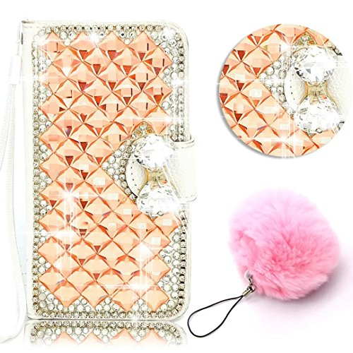 ZTE Grand X Max 2 Case,ZMax Pro Case,Vandot Bling Diamond Crystal Rhinestone Wallet Case With Card Slot PU leather Magnetic Closure Flip Stand Cover Skin+Fashion Pompon Ball Pendent-Orange (Zte Zmax Phone Case Wallet Bling)