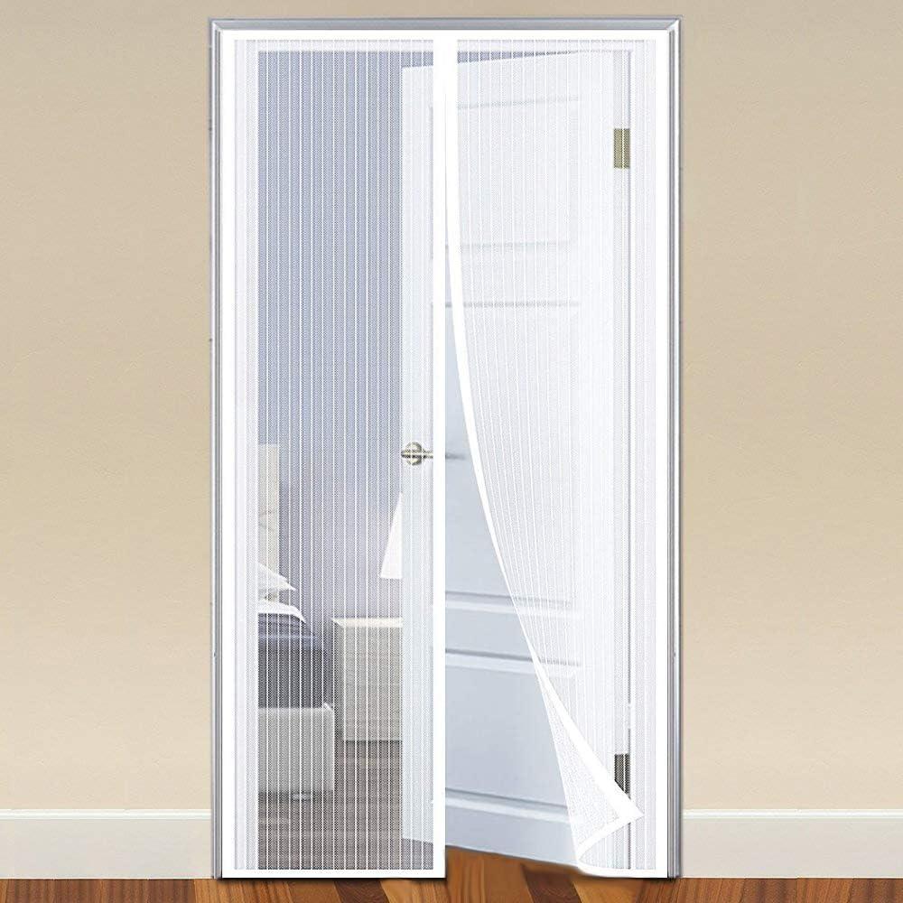 COAOC Mosquitera MagnéTica, Mosquitera Puerta Magnetica Nuevo DiseñO para Puertas Correderas/Balcones/Terraza - White 70x190cm(28x75inch): Amazon.es: Hogar
