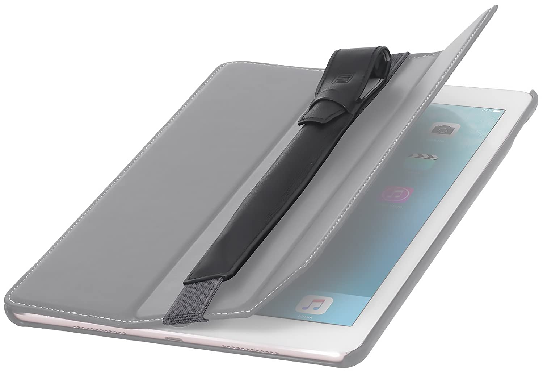 StilGut Pencil-Halter kompatibel mit iPad 2018//iPad Pro 9,7//iPad Pro 10.5 aus Leder mit Adapter-Fach /& Lasche V2 verbesserte Variante Schwarz Nappa