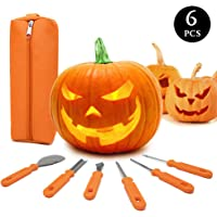 Halloween Pumpkin Carving Kit,6 Pieces Heavy Duty Stainless Steel Carving Tools Set with Storage Carrying Bag for Halloween Decorations,Jack-O-Lanterns Pumpkin Cutting Tools Carving Knife for Pumpkin