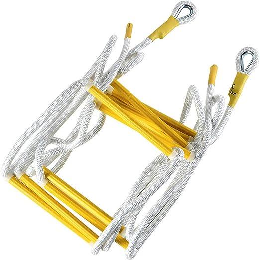 Guoyajf Escalera De Cuerda De Emergencia para Incendios Escalera De Cuerda Resistente A Las Llamas Resistente Al Fuego con Ganchos - Fácil De Usar - Compacto Y Fácil De Almacenar - Reutilizable,5m: