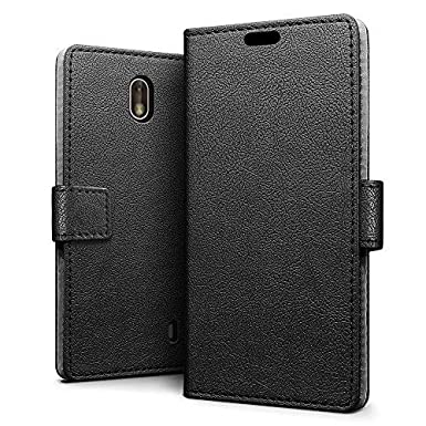 finest selection 6947b 407c5 SLEO Case for Nokia 1 Case Luxury Slim PU Leather Flip Protective Magnetic  Wallet Cover Case for Nokia 1 with Card Slot and Stand Feature - Black