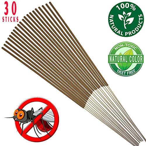 Price comparison product image Mosquito Sticks - All Natural Insect Repellent Incense Sticks - Eco friendly - non toxic - Bamboo Infused with Lemongrass & grapefruit peel (Pack of 30)