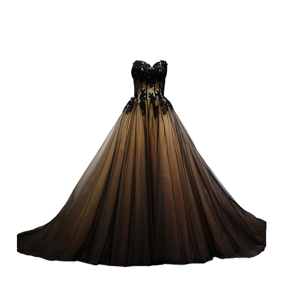 Kivary Sweetheart Black Tulle Gold Lace Corset Ball Gown Gothic Prom Wedding Dresses US 12