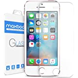 iPhone SE 屏幕保护膜,Maxboost iPhone SE 5S 5 5C 5SE 玻璃屏幕保护膜【钢化玻璃】0.2mm 弹道玻璃适合大多数保护套手机配件SP-IP5E-CLR 透明 1 包