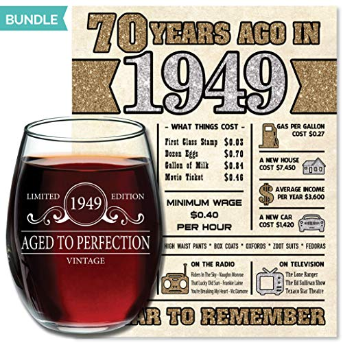 [WINE GLASS + DIGITAL POSTER] 1949 70th Birthday