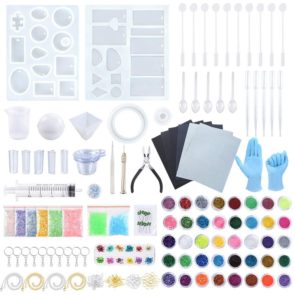 Sntieecr 223 Pieces Resin Silicone Casting Molds Full Kit with Resin Molds, Sandpaper, Fine Glitter, Glitters Sequins Powder, Dry Flower and Tools Set for Jewelry Making, DIY Art & Craft