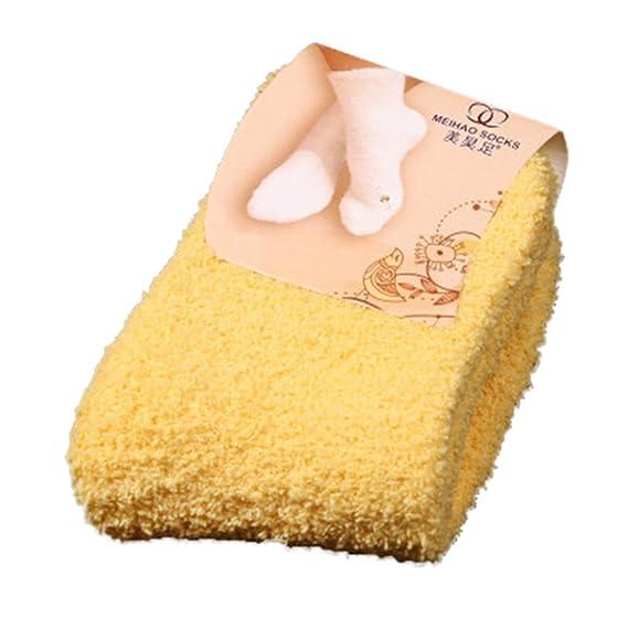 DEELIN Home Mujeres NiñAs Cama Suave Piso Calcetines Mullidas Invierno CáLido Puro Color Candy Color Coral