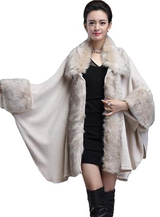 5e0a803b07c4a PENER Women s Faux Fox Fur Trim Cape Wool Blend Cloak Winter Warm Coat Plus  Size (