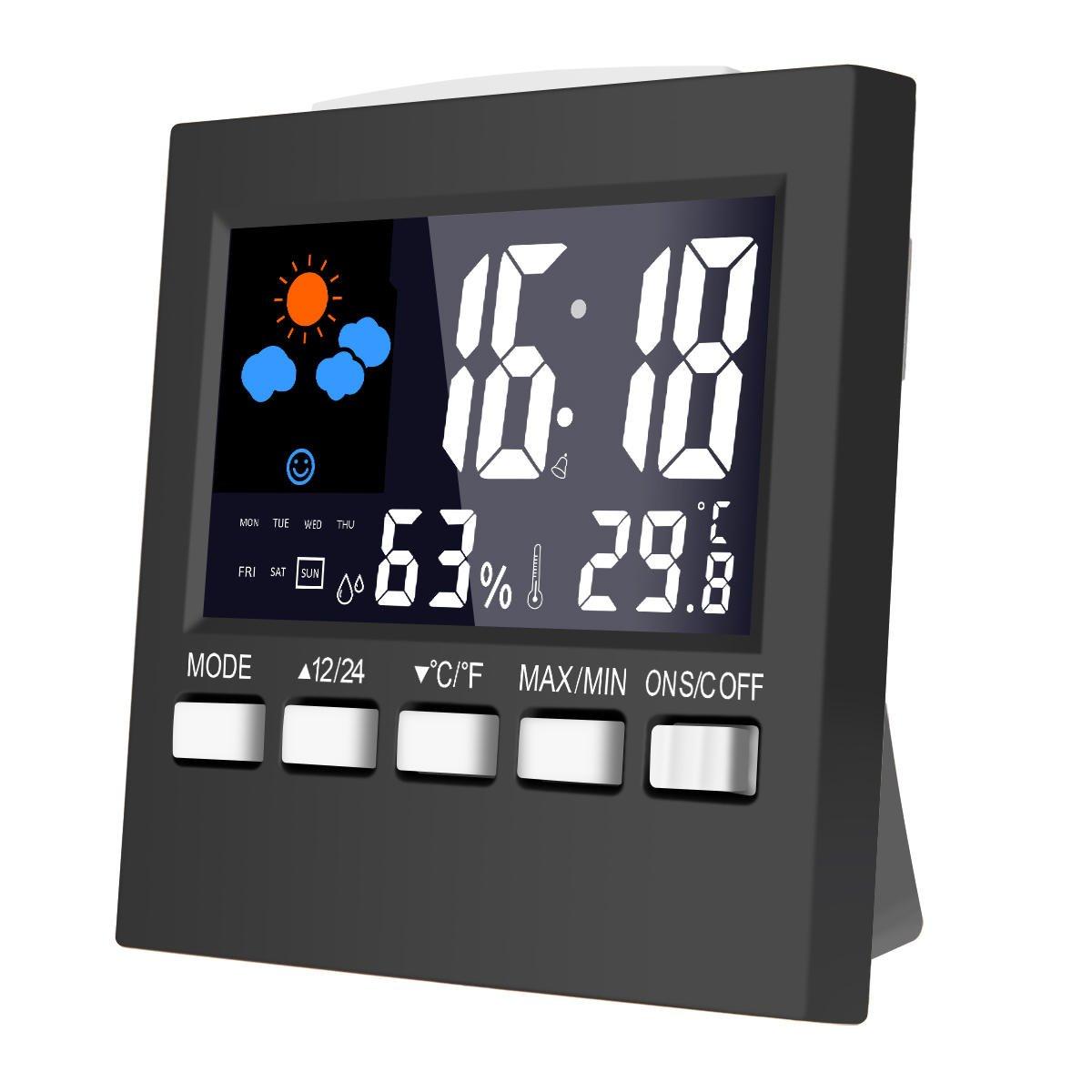 MOHOO Digital Temperature Hygrometer Monitor Indoor and Outdoor Digital Thermo-Hygrometer Digital Wireless Temperature Sensor Weather Station Clock Radio and Outdoor Sensor with Color Display