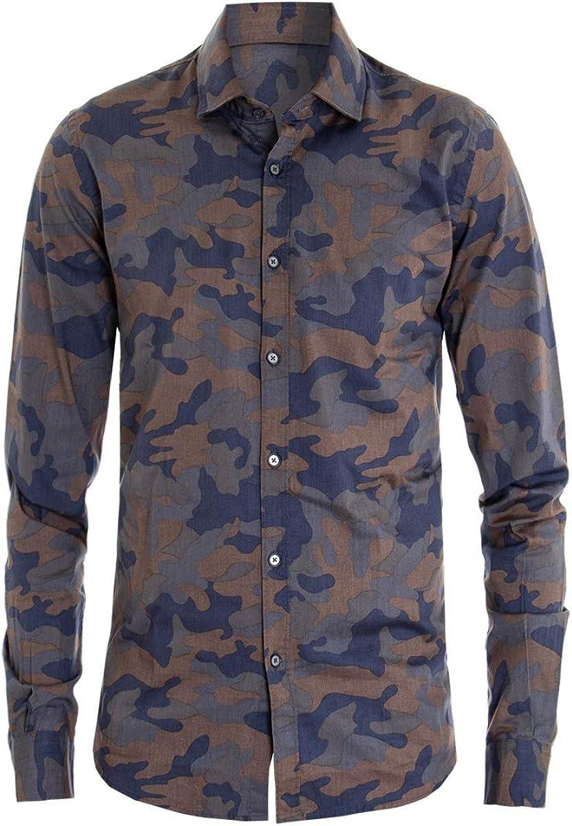 Giosal - Camisa de Cuello para Hombre, fantasía Militar, Informal, Estampado de Camuflaje, Manga Larga Turquesa XL: Amazon.es: Ropa y accesorios