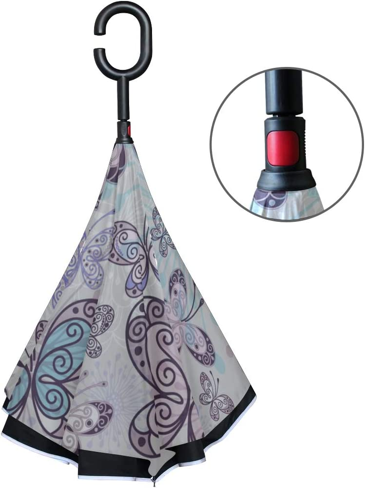 Double Layer Inverted Inverted Umbrella Is Light And Sturdy Pinkvioletblue Pattern Transparent Butterflies Reverse Umbrella And Windproof Umbrella Ed