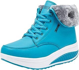 Yying Bottes d'hiver Bottines Femme en Peluche Bottes de Neige Chaussures Confortables Chaussures Compensées Bottes d'athlète Chaussures de Course à Lacets Chaussures de Course