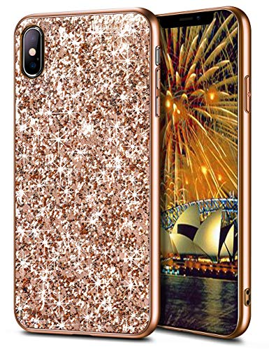 Wollony iPhone Xs Max Case,Ultra Slim iPhone Xs Max Bling Shiny Glitter Case for Girl Hybrid TPU Shock-Absorption Bumper Sparkle Hard Back Cover for iPhone Xs Max 6.5 2018 - Champagne