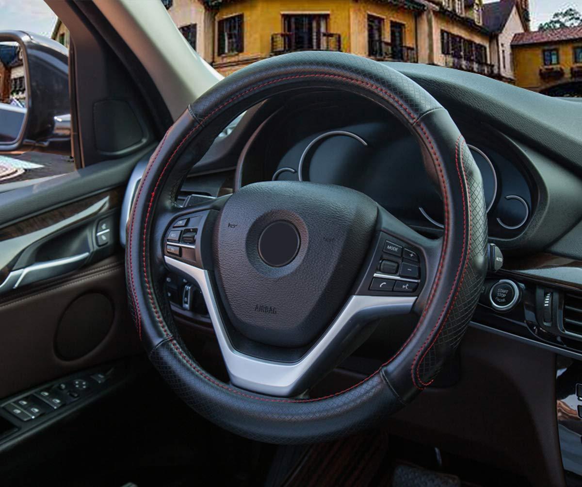 Transpirable Funda Volante Cuero Coche Universal Negro L/ínea Roja Antideslizante Sportage Cubierta del Volante de Tama/ño Universal 37-38 cm