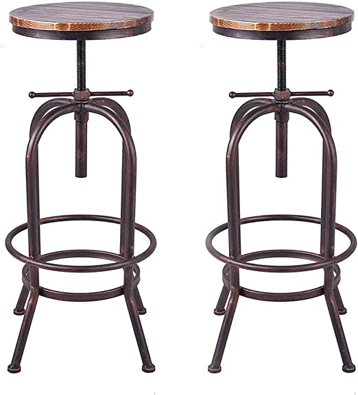 Amazon.com: BOKKOLIK Set of 2 Industrial Bar Stool-Retro 28 ...