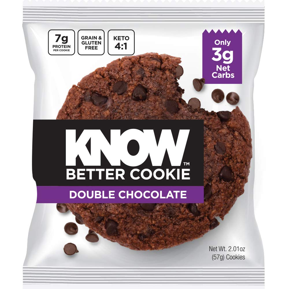 KNOW Foods - KNOW Better Cookie, Double Chocolate, Keto Snack, Low Carb Snack, Protein Cookie, Gluten Free, 2.01oz Cookie, 8 Count by KNOW Foods