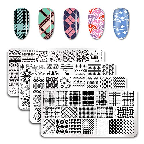 BORN PRETTY Nail Art Stamping Plate Christmas Winter Santa Snowflake Reindeer Tree Bell Manicure Print Template Image Plate