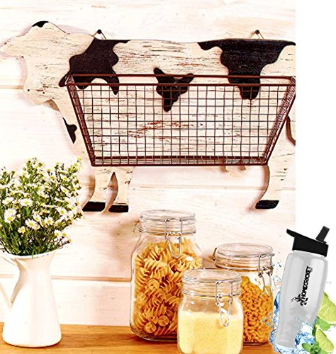 Gift Included- Barnyard Animal Country Farmhouse Themed Kitchen Storage & Organization Wall Baskets Cow + FREE Bonus Water Bottle by Homecricket by HomeCricket (Image #3)