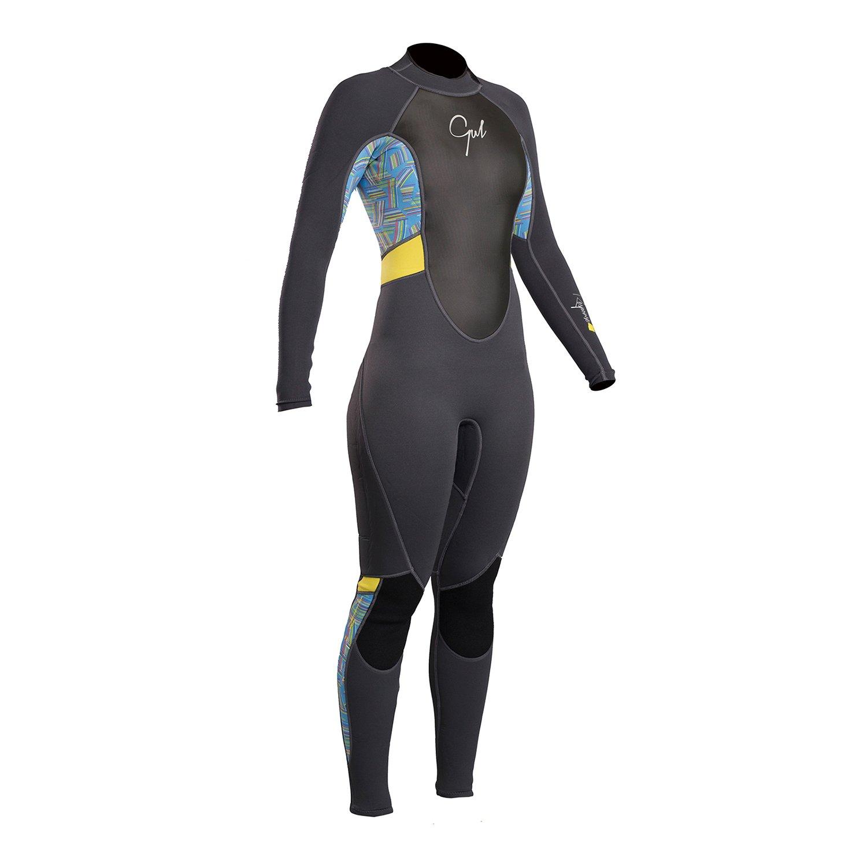 Gul Response Womens 3//2mm Flatlock Back Zip Wetsuit Graphite Lines Easy Stretch