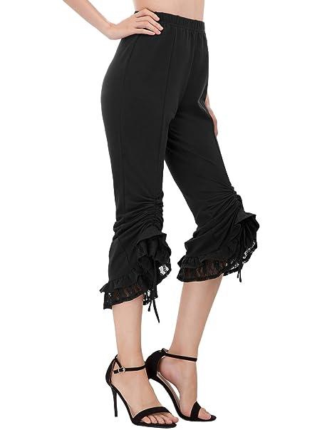 Amazon.com: Pantalones de encaje para mujer, estilo gótico ...