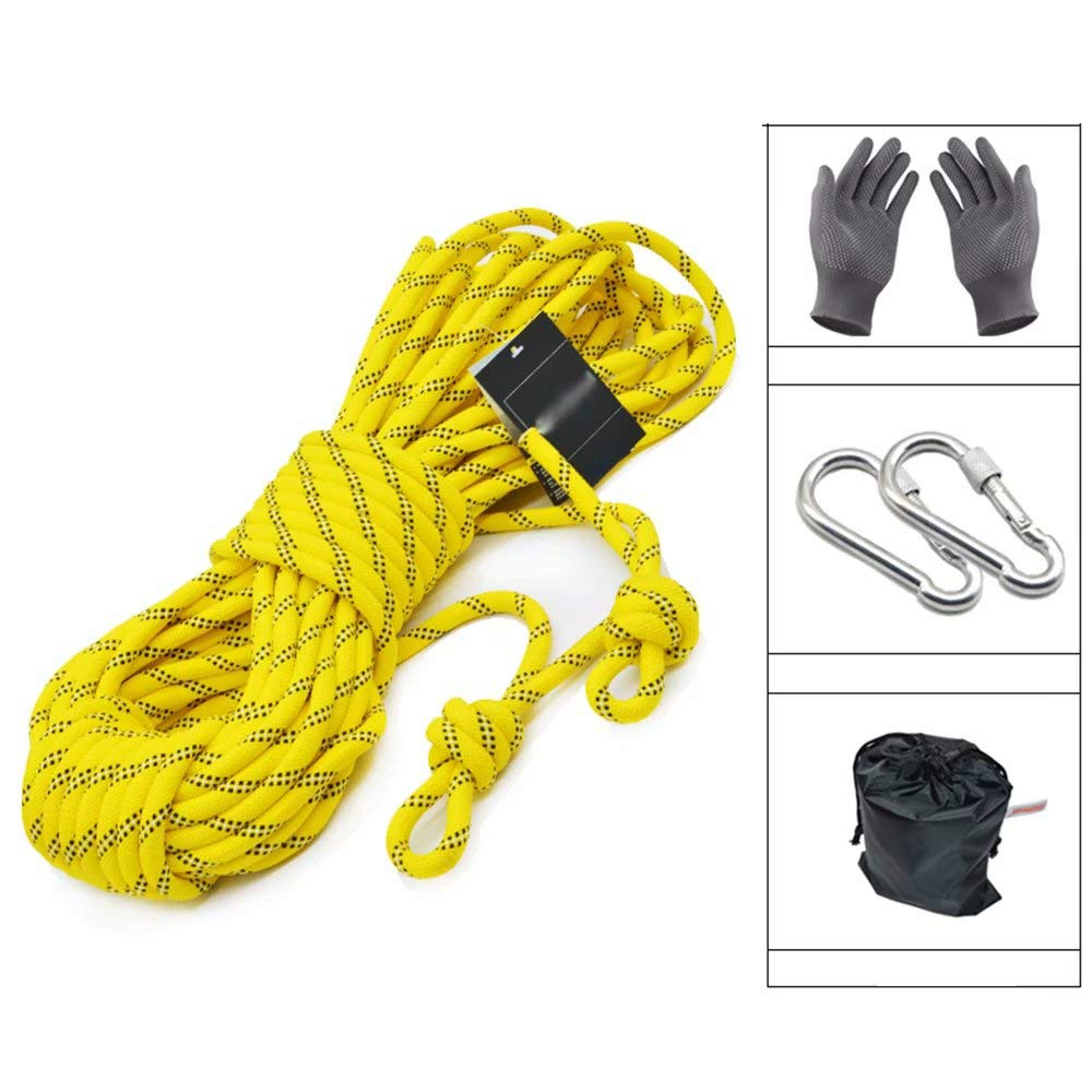 Yellow 8mm10m Safety Rope Climbing Rope Outdoor Climbing Rope wear-Resistant Escape Life-Saving Equipment Rope Set high Altitude Rescue Rope Rope