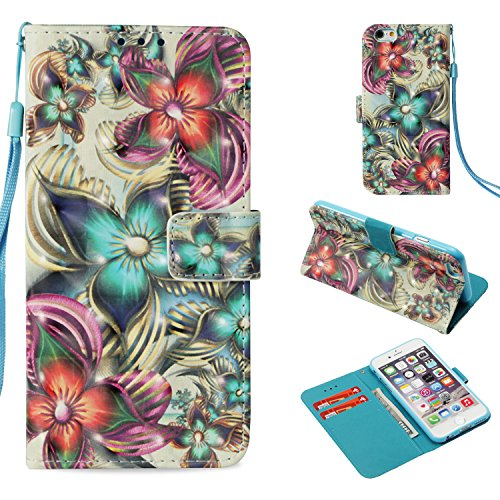 (iPhone 6 6S Case, UZER 3D Series Premium PU Leather Shockproof Kick Stand Function Folio Flip Wallet Case with Card Holder ID Slot Money pocket Durable Magnetic Book Case for iPhone 6/6S 4.7