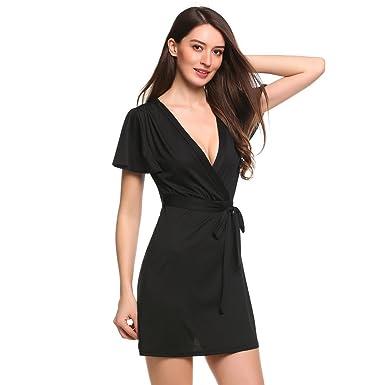 Minikleid Elegant,Sondereu Casual Front überqueren Kleid mit V-Ausschnitt  kurze Rüsche Ärmel solide Pullover elastisch  Amazon.de  Bekleidung 7289e4ac07
