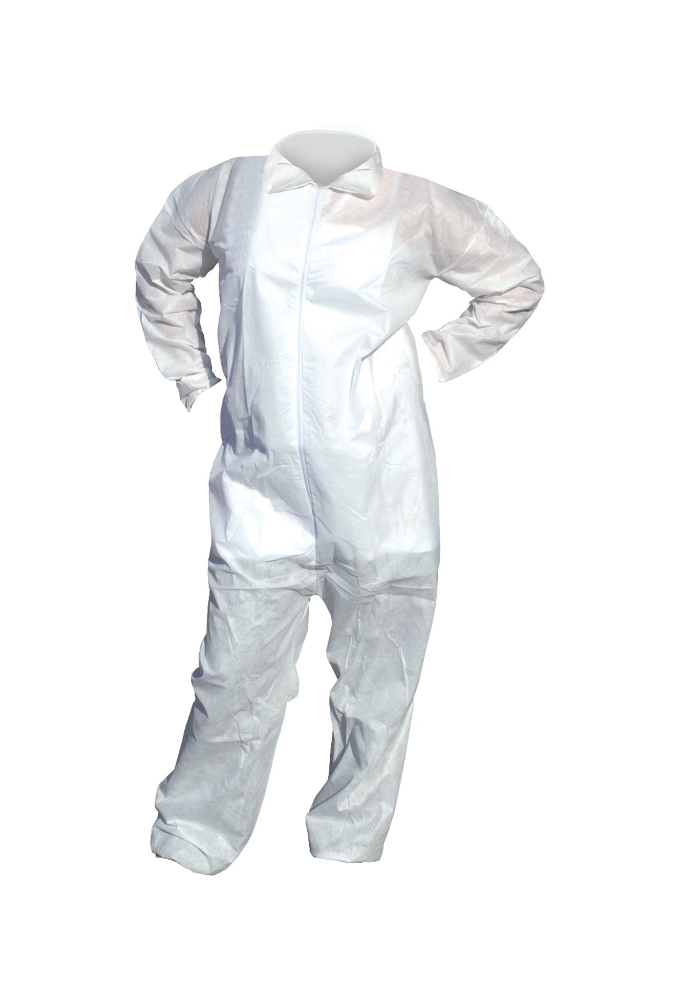 High Five AC203 SMS Polypropylene Opaque Heavy Duty Coverall with Elastic Wrists and Ankles, Large, White (Case of 25)
