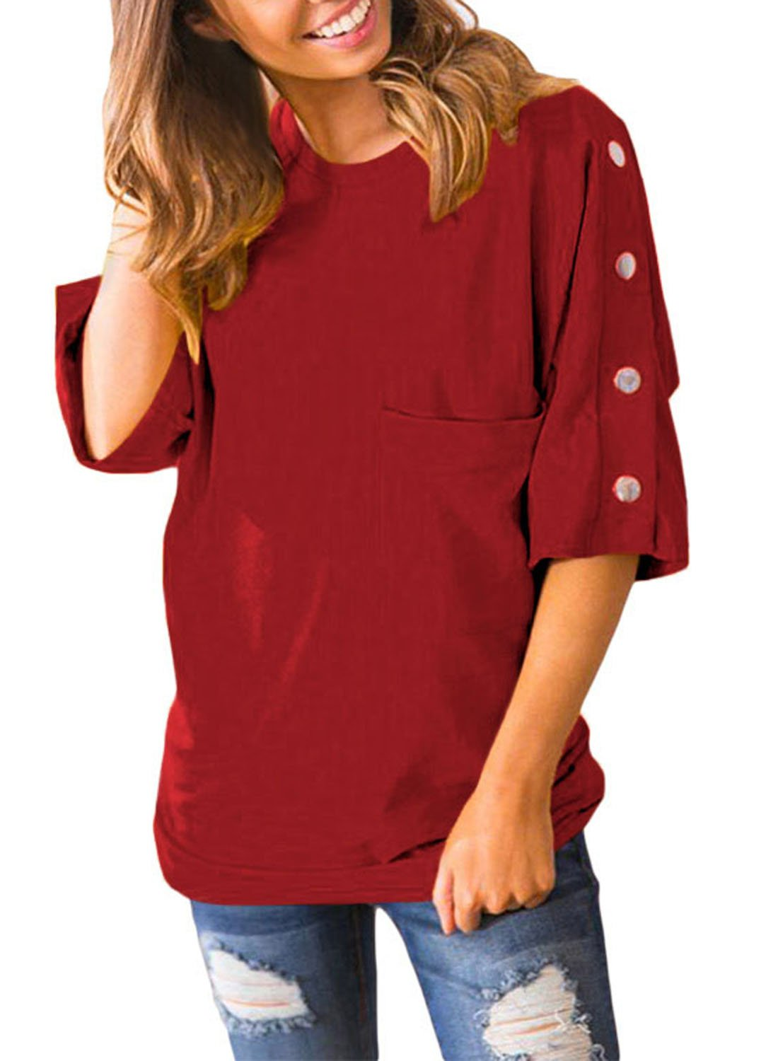 Azokoe 2018 Womens Tops Tunic Summer Fashion Casual Shirts 3 4 Sleeves Buttons up Front Pockets Blouses Juniors Wine Medium