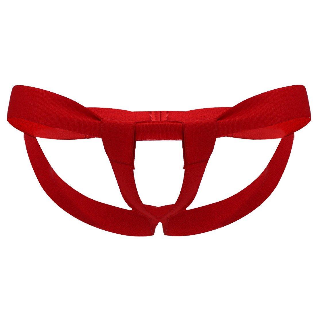 iEFiEL Mens Bare Back Sliding Ring Enhancing Strap Underwear Underpants T-Back (Red B)