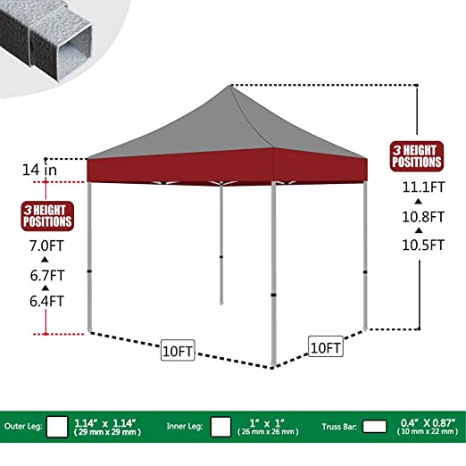 Amazon.com Eurmax 10 X 10 Pop up Canopy Tent Commercial Outdoor Gazebo With Wheeled Carry Bag Red Garden u0026 Outdoor  sc 1 st  Amazon.com & Amazon.com: Eurmax 10 X 10 Pop up Canopy Tent Commercial Outdoor ...