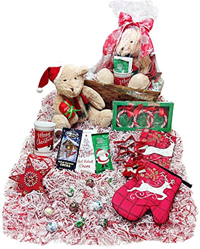 Christmas Hot Cocoa Kitchen Gift Basket - Lindt Gourmet Truffles, Cookie Cutters, Mug, Hot Cocoa, Towel, Potholder, Candy Cane Rings, Tree Ornament, & Plush Holiday Teddy Bear