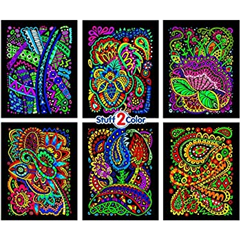 Stuff2Color Tangles - 6 Pack of 8x10 Inch Fuzzy Velvet Coloring Posters