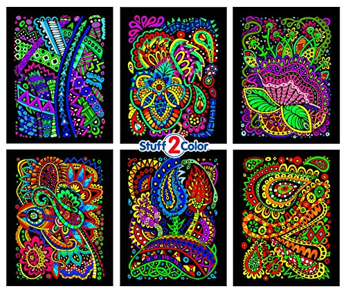 (Tangles - 6 Pack of 8x10 Inch Fuzzy Velvet Coloring Posters)