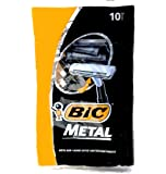Bic Metal Quality Disposable Men's Shaving Razors, Best Single Blade, 10-count